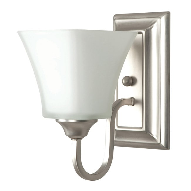 One Light Satin Nickel Bath Sconce - Thumbnail 0