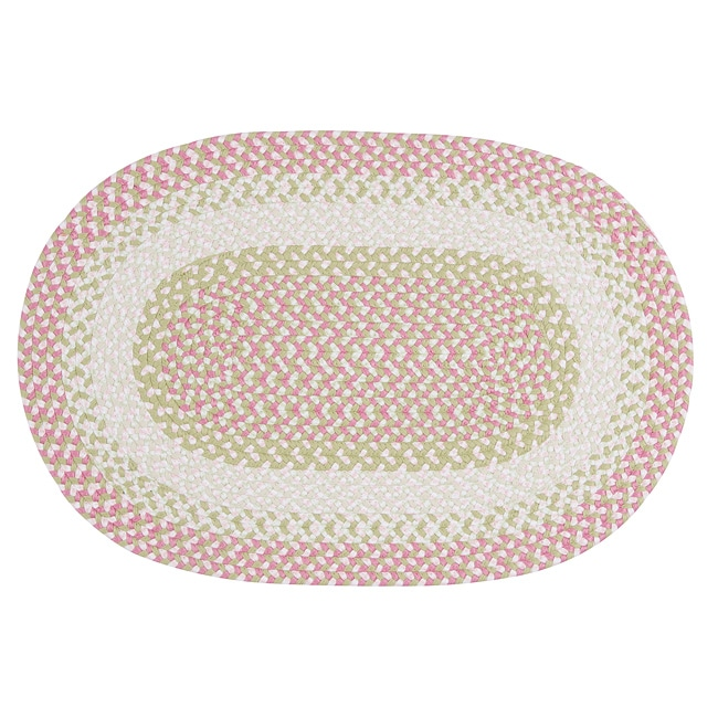 Pinwheel Pink Colored Fabric Blended Accent Rug (2' x 3')
