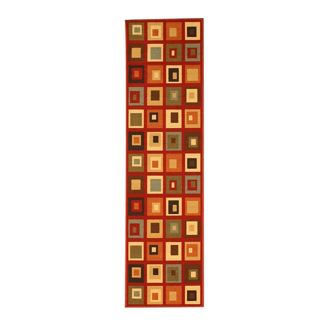 Euro Home Red/ Beige Rug (1'8 x 4'11) - Thumbnail 0