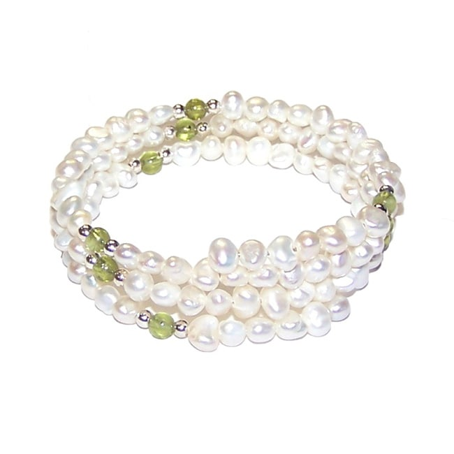Sterling Silver White Freshwater Pearl and Peridot Gemstones Coil Wrap Bracelet