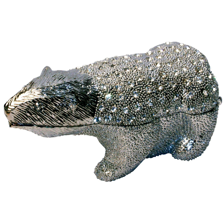 Cristiani Crystal & Pewter Pave Beautiful Polar Bear-shaped Silver Box