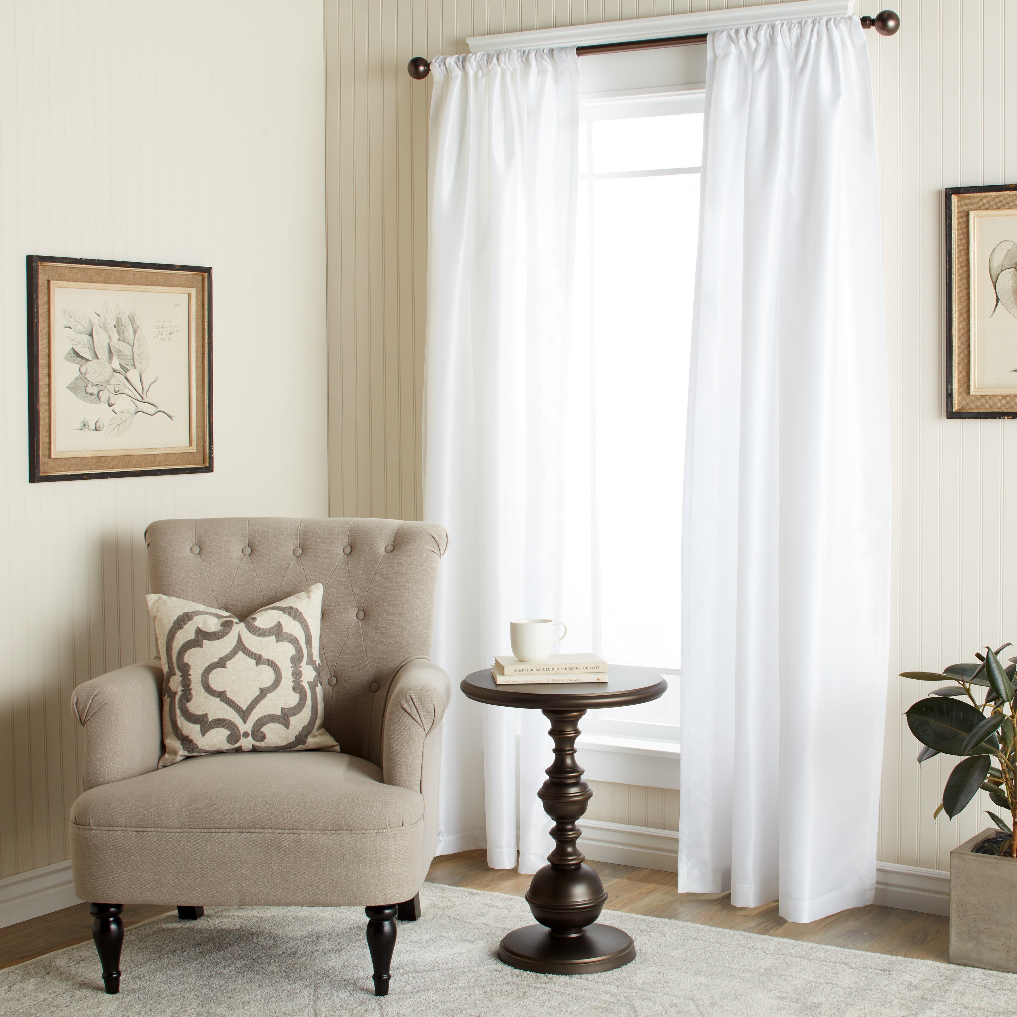 The Gray Barn Dogwood White Faux Silk 84-inch Curtain Pan...