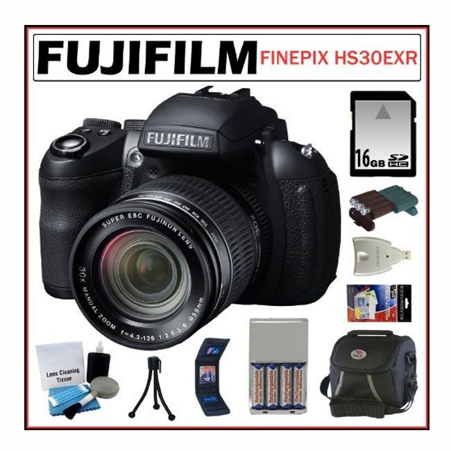 Fujifilm FinePix HS30EXR 16MP Digital Camera 16GB + Accessory Kit