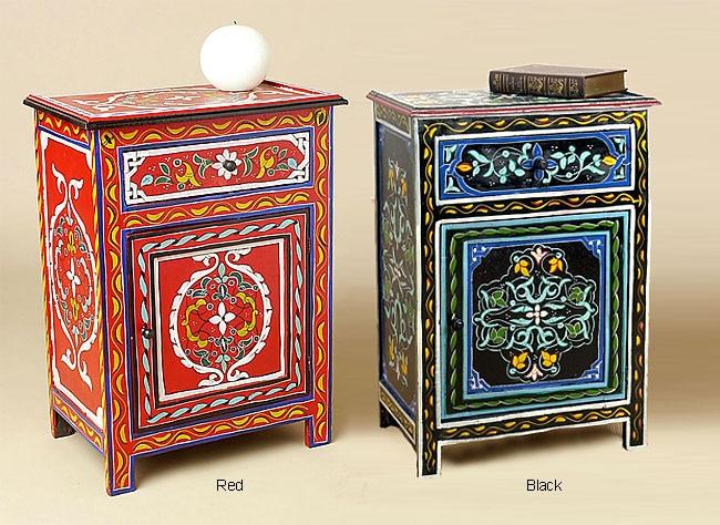 Handmade Wooden Hand Painted Nightstand Morocco Free