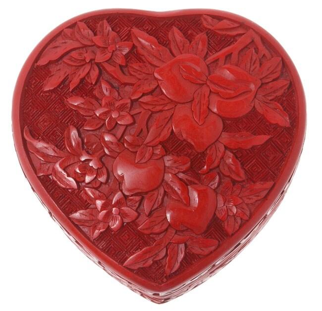 Cinnabar Heart Jewelry Box (India)