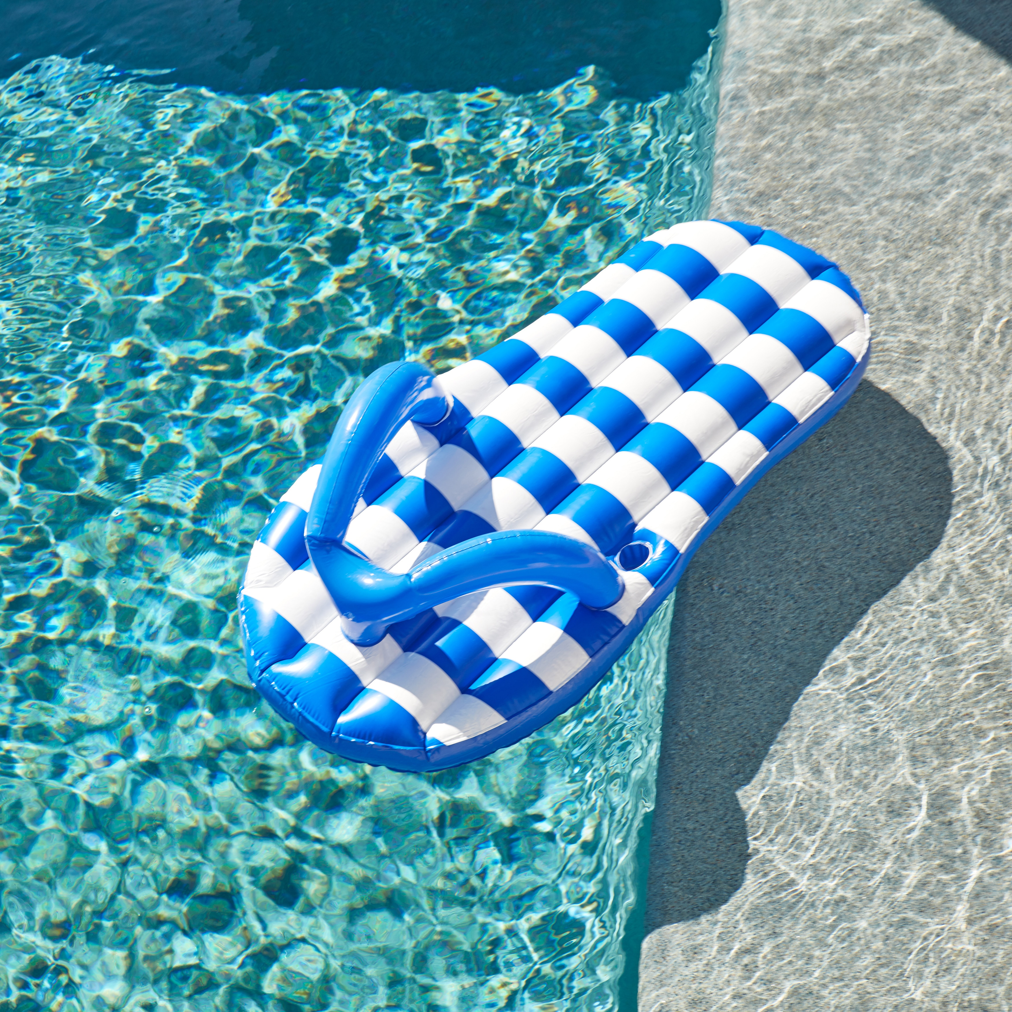 a3b4a189bc4 Details about Marine Blue Flip Flop 71-inch Inflatable Pool Float