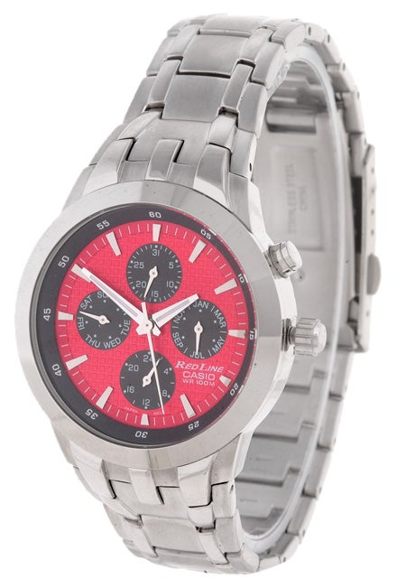 shop casio men s redline stainless steel red dial watch free