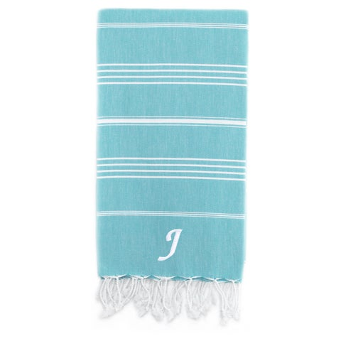 Authentic Pestemal Fouta Original Turquoise Blue and White Stripe Turkish Cotton Bath/ Beach Towel with Monogram Initial