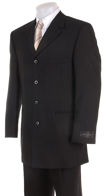karl kani men 39 s black pinstriped 4 button suit free. Black Bedroom Furniture Sets. Home Design Ideas