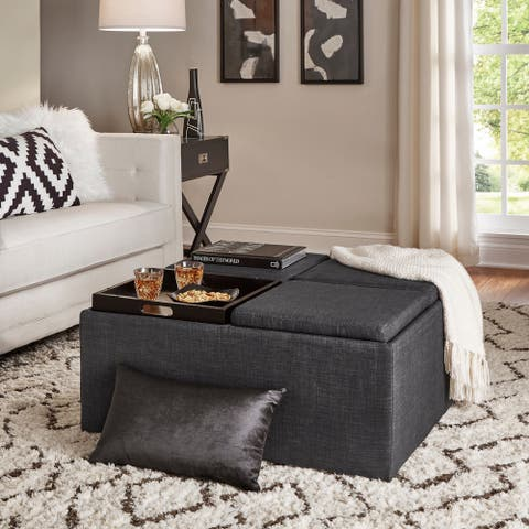 Montrose Dark Grey Storage Cocktail Ottoman by iNSPIRE Q Bold