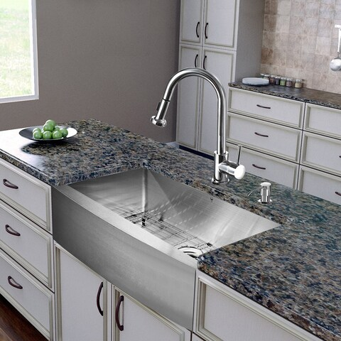 VIGO All-In-One 30 Bedford Stainless Steel Farmhouse Kitchen Sink Set With Harrison Faucet In Chrome