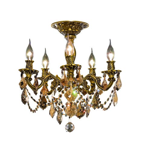 Somette Meilen 5-light Royal Cut Gold Crystal and French Gold Flush Mount