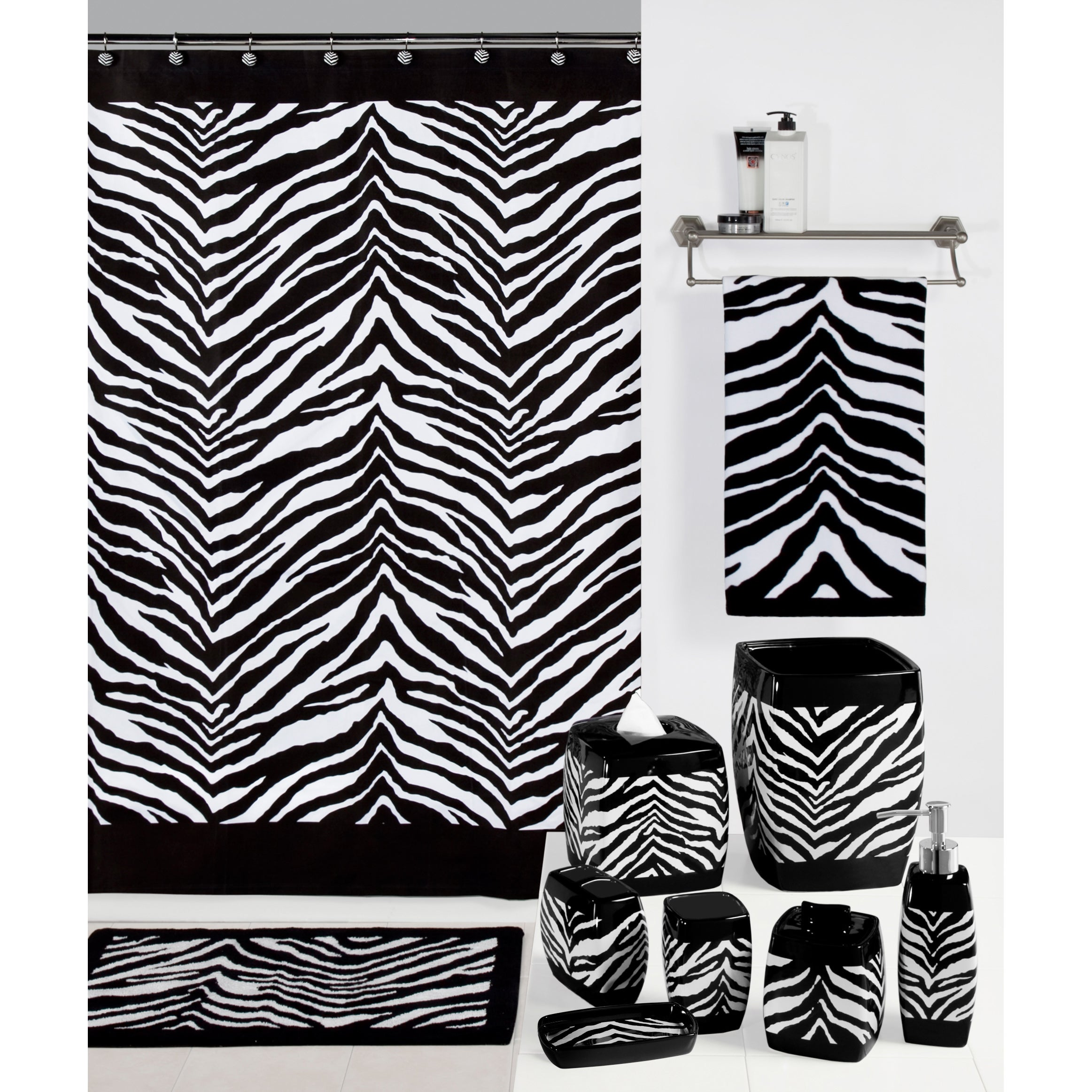 Creative Zebra Print Bathroom Set (bath rug) (Polyester, ...