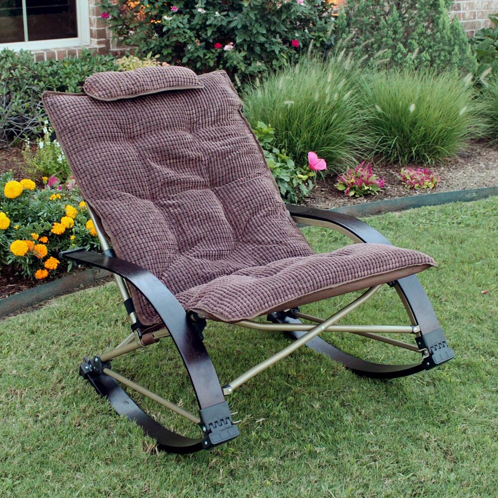International Caravan Folding Bentwood Rocking Chair with...