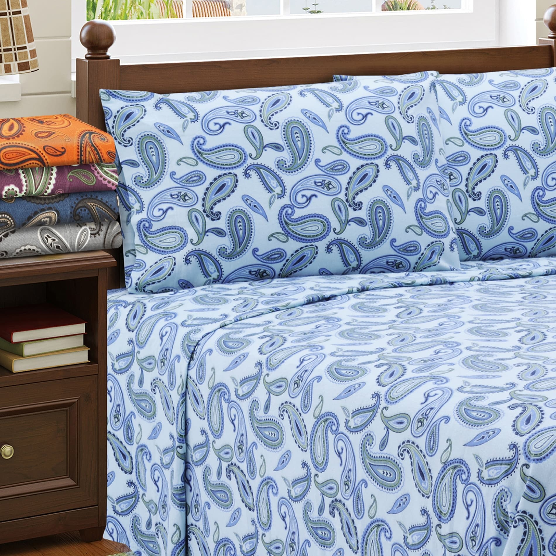 Charming Superior Paisley Deep Pocket Cotton Flannel Sheet Set