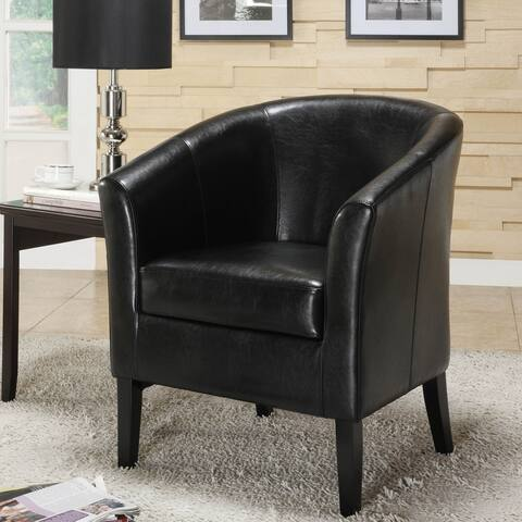 Linon Andrew Barrel Club Chair Jet Black Upholstery