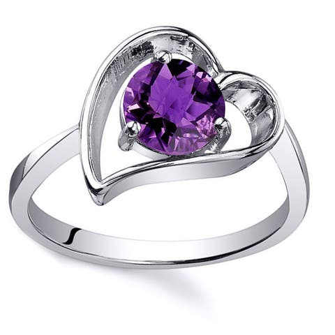 Oravo Sterling Silver Round-cut Gemstone Solitaire Ring