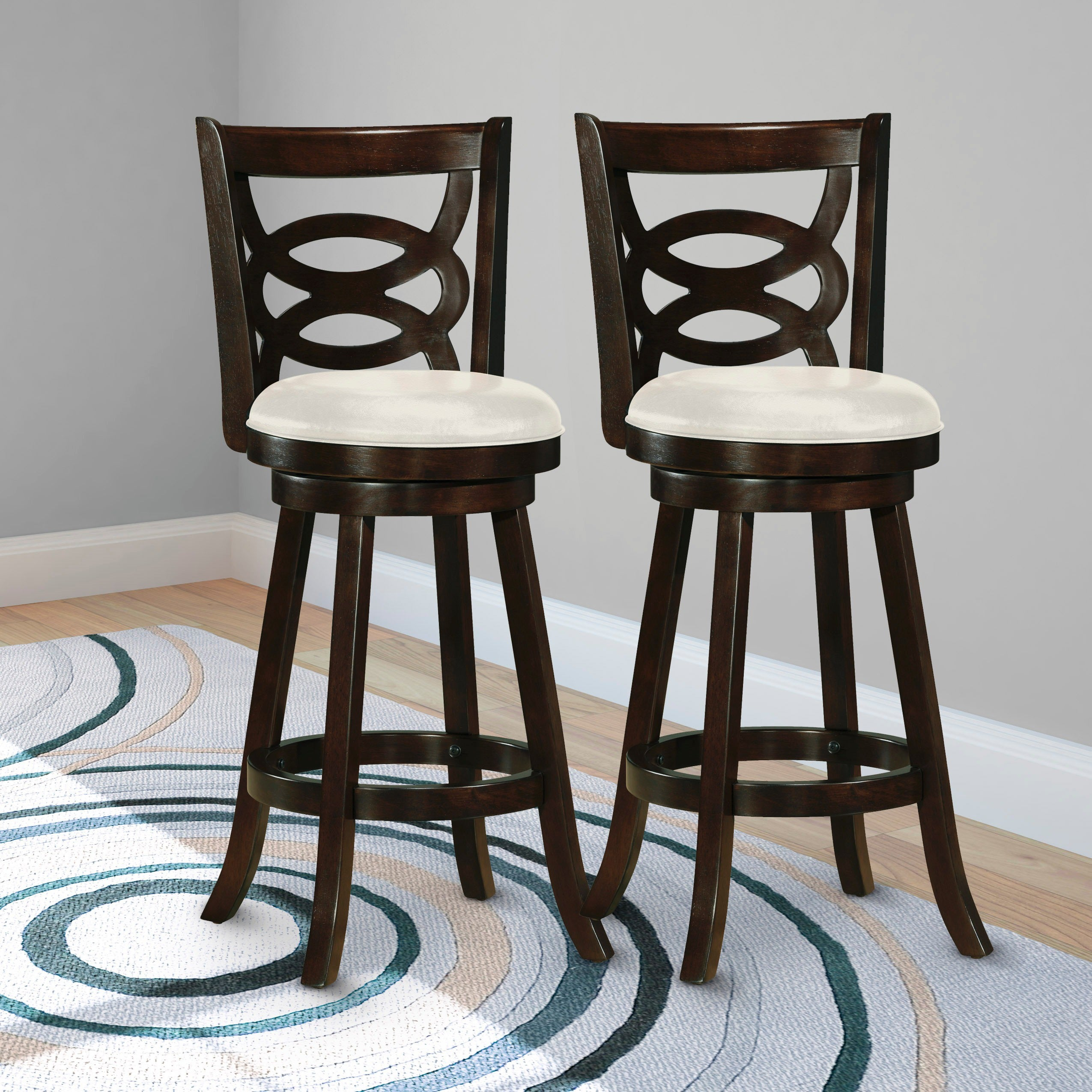 CorLiving Wooden Barstool with White Leatherette Seat (Se...