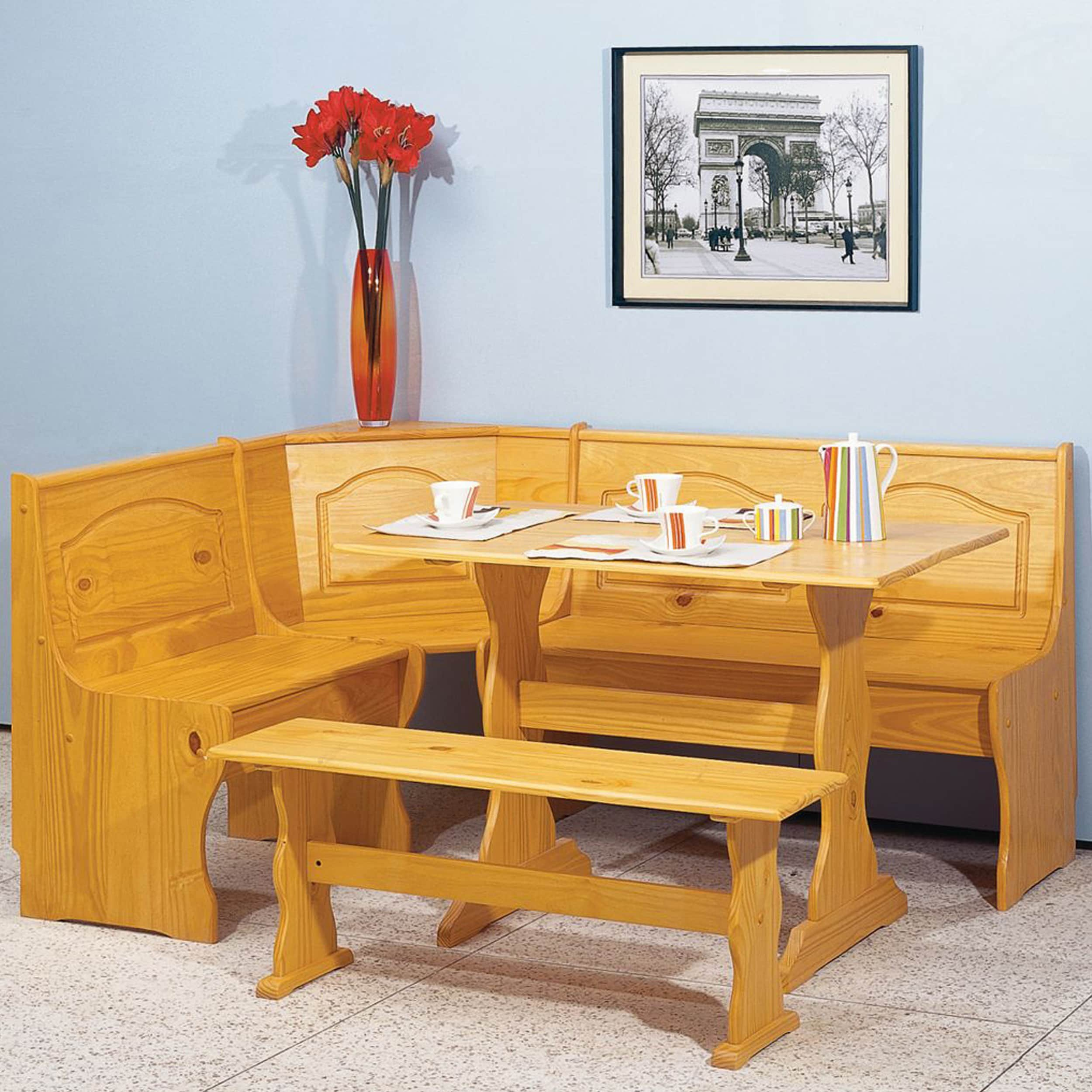 Linon Riki Corner Family Dining Set Light Brown (Chelsea ...
