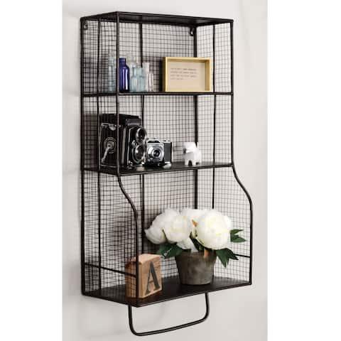 Linon 17 x 31-inch Distressed Metal Wall Storage Organizer