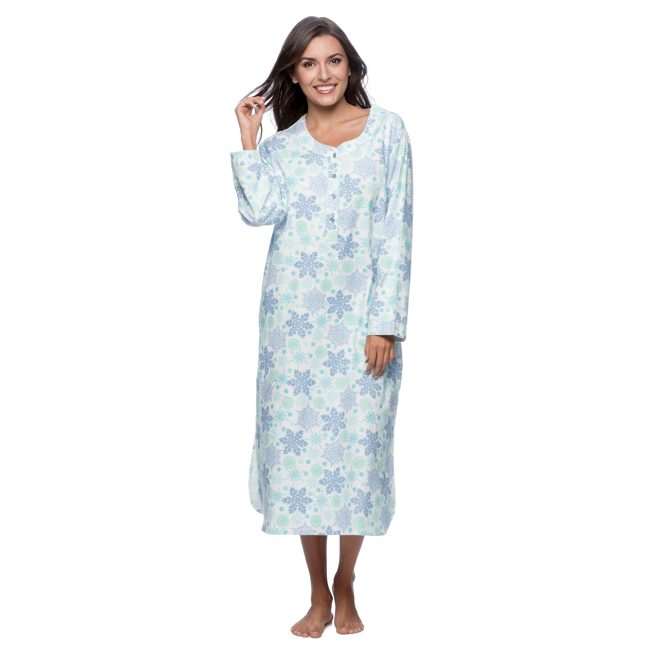 La Cera Women's Blue Snowflake Print Pull-over Gown (Extr...
