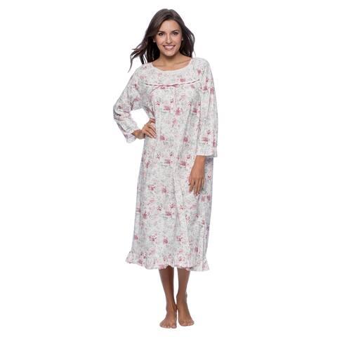 La Cera Women's White/ Pink Floral Print Night Gown