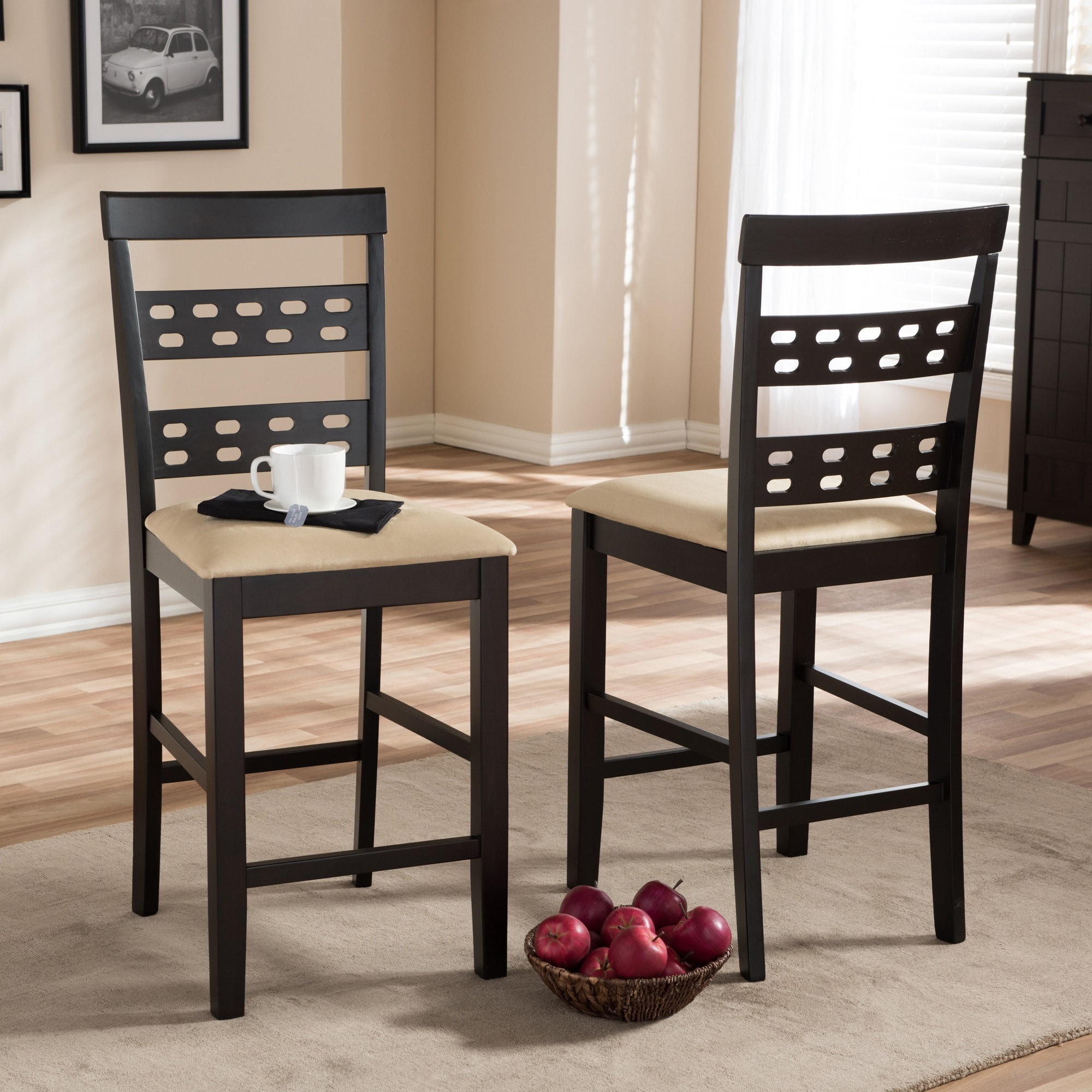 """Traditional Dark Brown Wood 24"""" Counter Stool by Baxton S..."""