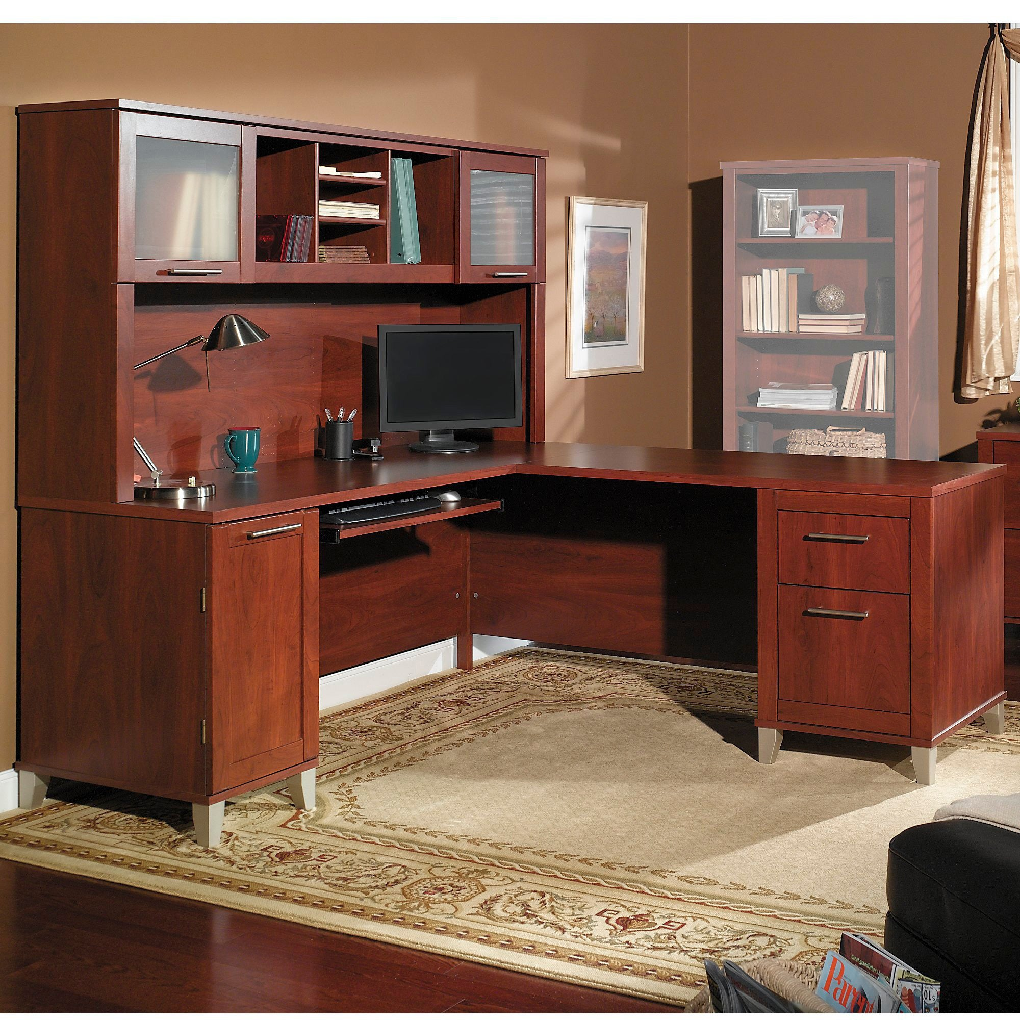 cool desk com of shaped for furniture charming with office fireplace l hutch additional otbsiu