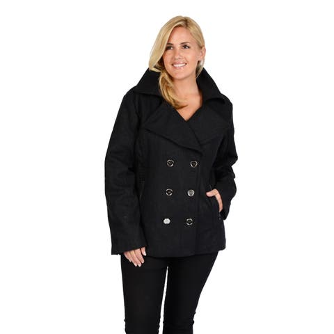 EXcelled Plus Wool Fashion Peacoat with Silver Accented Zipper Pockets