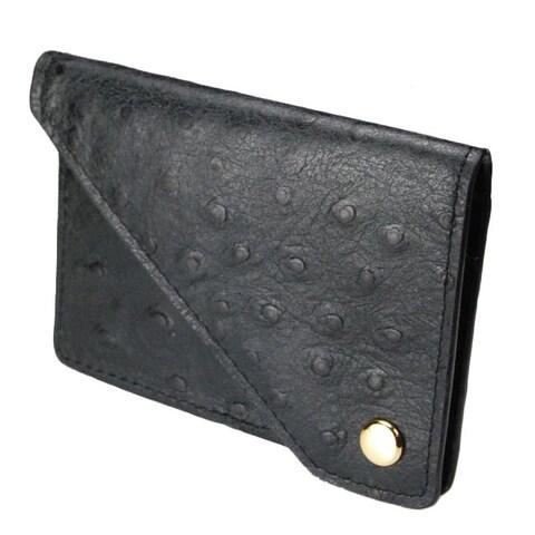 Castello Italian Leather Ostrich Print Flap Cardholder