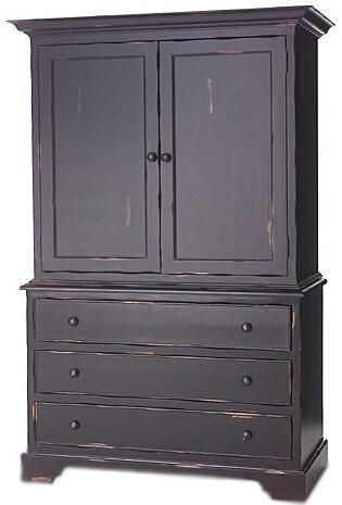 Black Finish Linen Press Cabinet