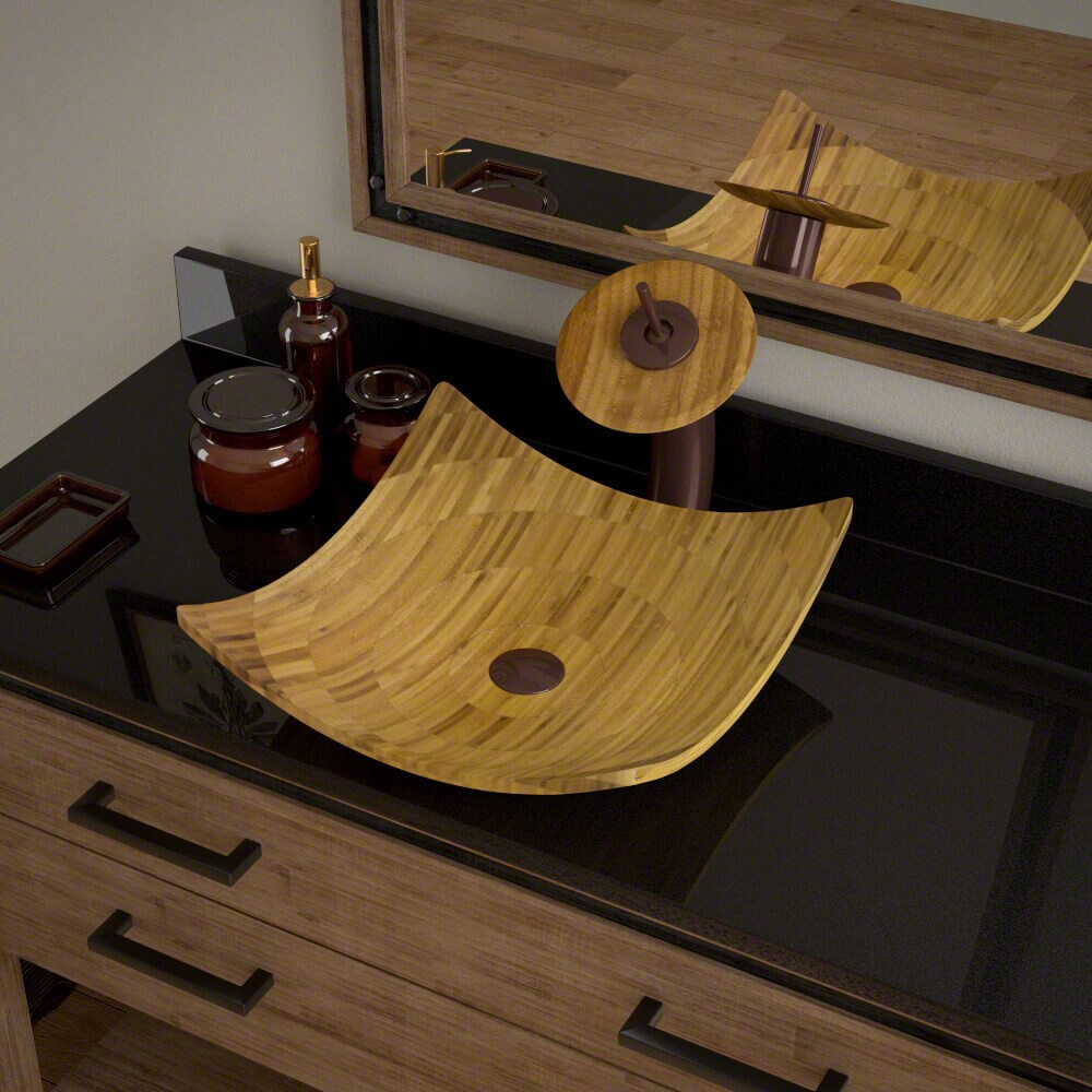 MR Direct 892 Bamboo Vessel Bathroom Sink, with Oil Rubbe...