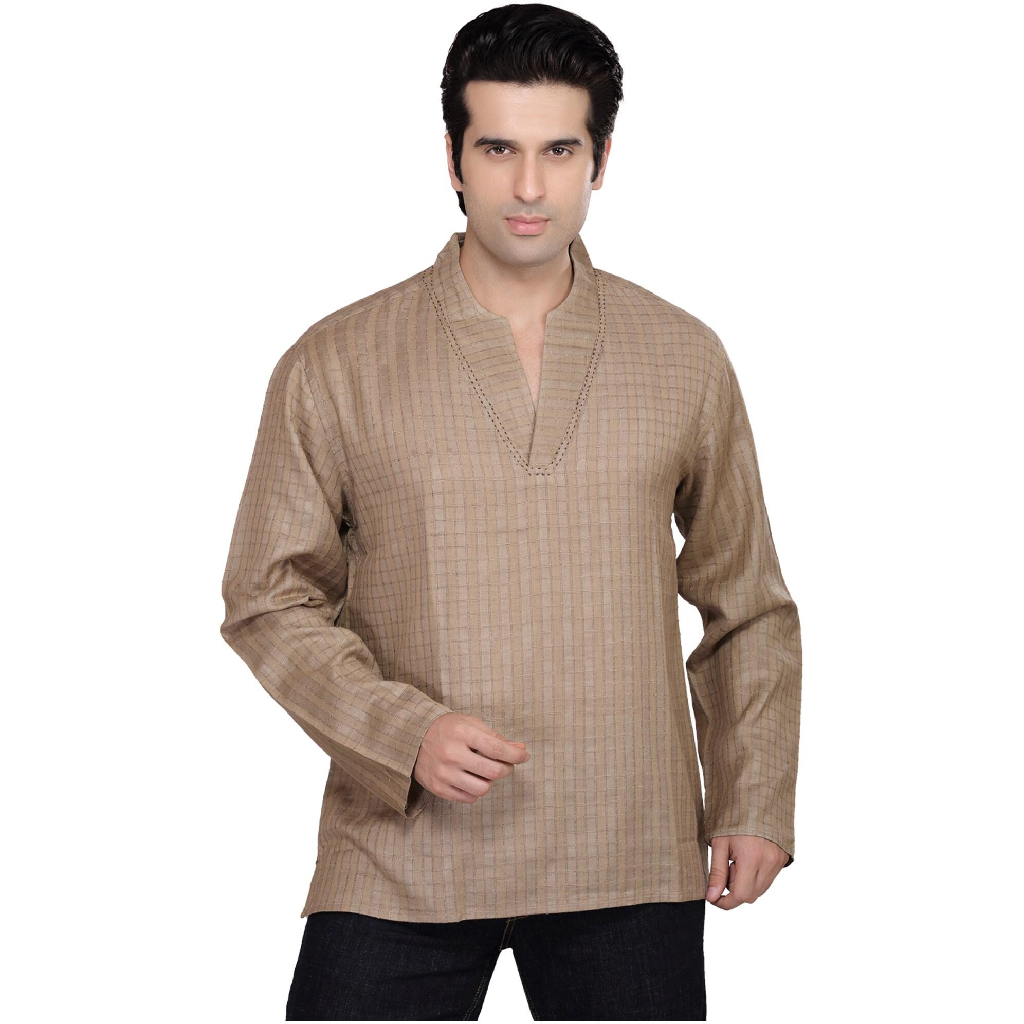 Handmade Shatranj Men's Kurta Tunic Checkered Shirt (Indi...