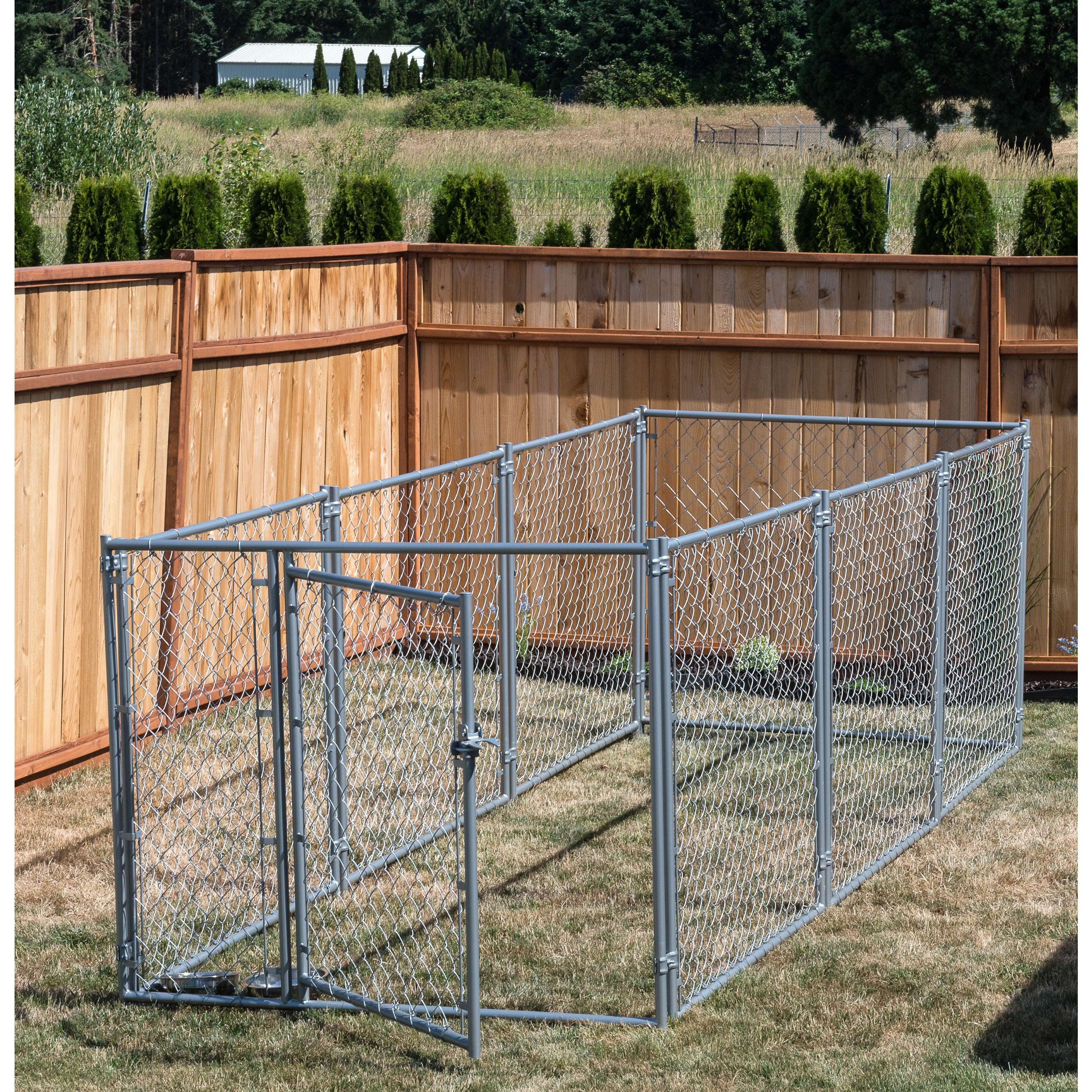 Lucky Dog 4'H x 5'W x 10'L Modular Chain Link Kennel kit ...