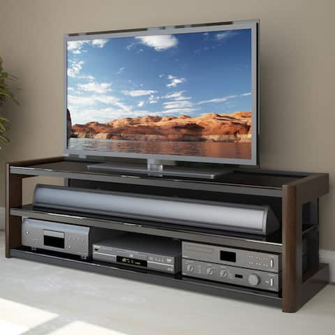 """Milan Quick Click TV Bench in Dark Espresso, for TVs up to 68"""""""