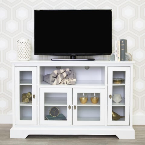 """52"""" White Wood Highboy Style TV Stand"""