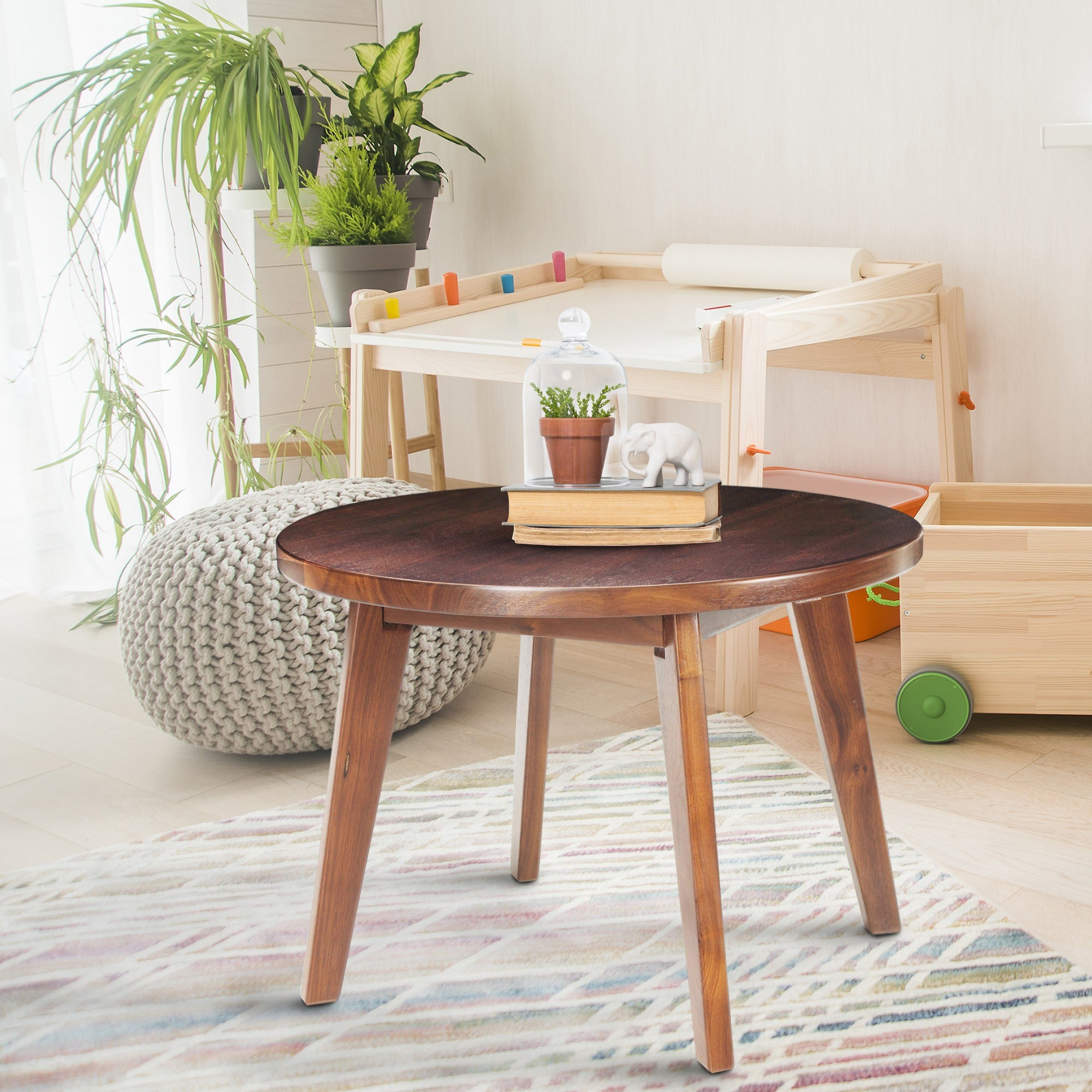 American Trails Mid Century Modern Round Genuine Walnut 24-inch Coffee Table