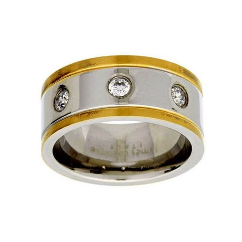 James Cavolini Stainless Steel IP Gold Two-Tone Cubic Zirconia Men's Band Ring - White