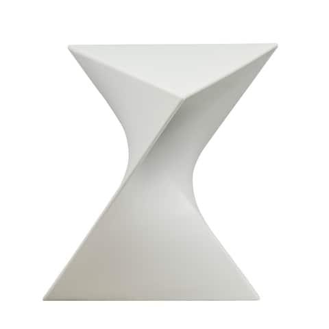 LeisureMod Quinzy Vanity Stool/Side White Table
