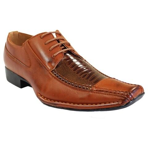 Men's Faux Leather Square-toe Lace-up Oxford Dress Shoes