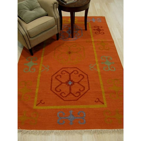 Handmade Wool Rust Traditional Oriental Reversible Suzani Kilim Rug - 10' x 14'