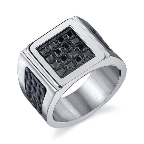 Men's Black Cubic Zirconia Style Ring