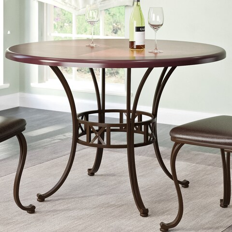 CorLiving Jericho Metal and Warm Stained Wood Dining Table - Brown