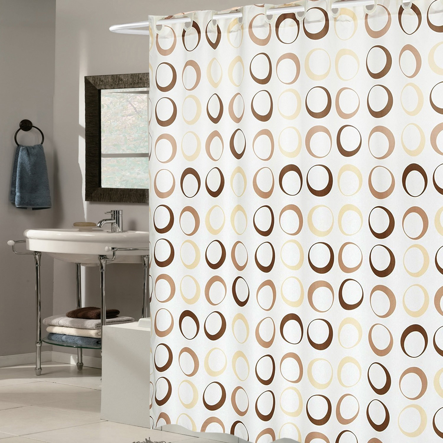 EZ On Brown Circles Fabric Shower Curtain with Built in H...