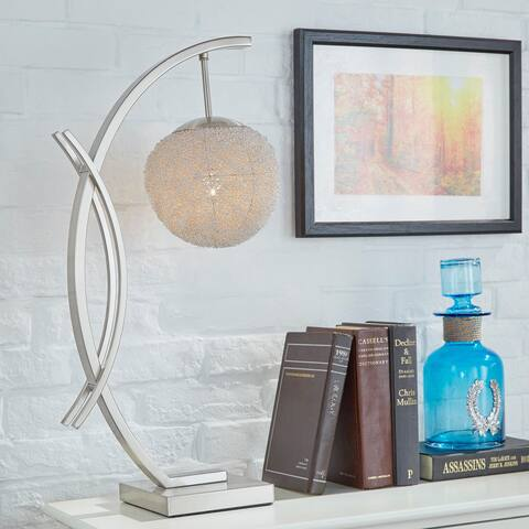 Zaida Nickel Finish Sphere Table Lamp by iNSPIRE Q Bold