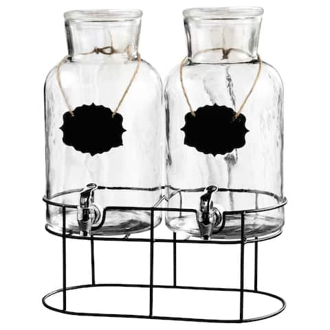 Sierra Chalkboard Glass Beverage Dispenser with Stand (Set of 2)