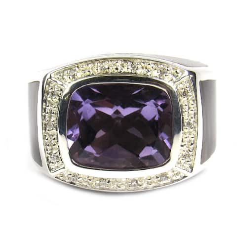 Pearl Lustre Unisex Sterling Silver Amethyst Quartz and Mother of Pearl Diamond Accent Ring - Purple