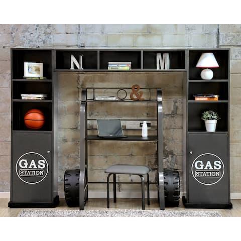 Born Racer Modern Gunmetal 3-piece Cabinet and Shelf Set by FOA