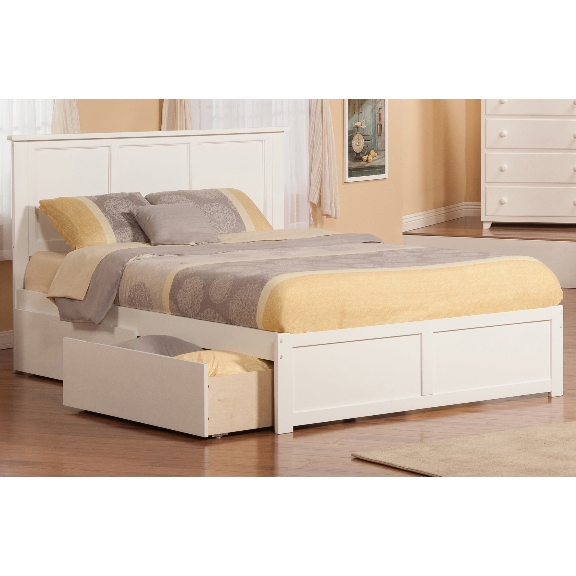 Atlantic Madison Queen White Flat Panel Foot Board with 2...