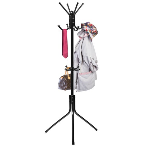 OxGord Coat and Hat Black Metal Rack and Hook Organizer Stand